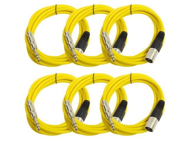 Seismic Audio - 6 Pack of Yellow 10 foot XLR Male to TRS Male Patch Cables - Snake Microphone Cord