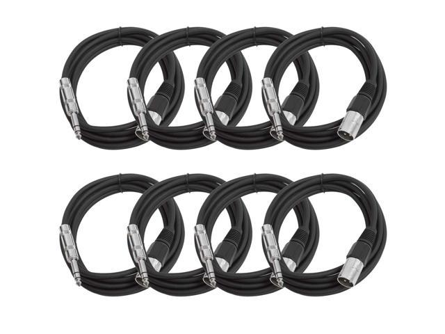 Seismic Audio - 8 Pack of Black 10 foot XLR Male to TRS Male Patch Cables - Snake Microphone Cord
