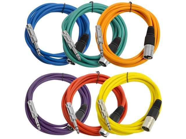 Seismic Audio - 6 Pack of Colored 10 foot XLR Male to TRS Male Patch Cables - Snake Microphone Cord