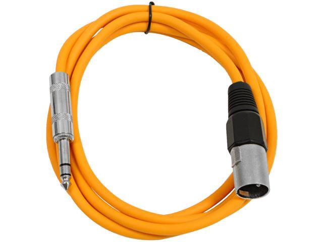 Seismic Audio - Orange 6 foot XLR Male to TRS Male Patch Cable - Snake Microphone Cord