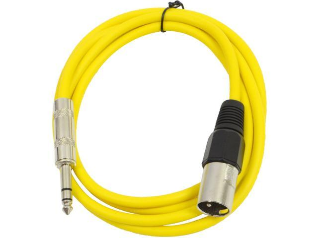 Seismic Audio - Yellow 6 foot XLR Male to TRS Male Patch Cable - Snake Microphone Cord