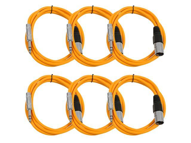 Seismic Audio - 6 Pack of Orange 6 foot XLR Male to TRS Male Patch Cables - Snake Microphone Cord