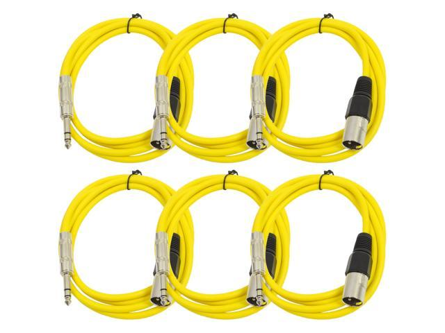 Seismic Audio - 6 Pack of Yellow 6 foot XLR Male to TRS Male Patch Cables - Snake Microphone Cord