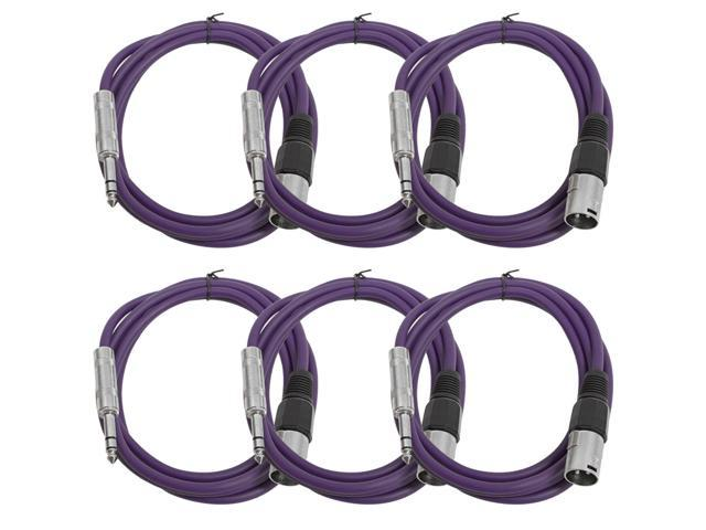 Seismic Audio - 6 Pack of Purple 6 foot XLR Male to TRS Male Patch Cables - Snake Microphone Cord