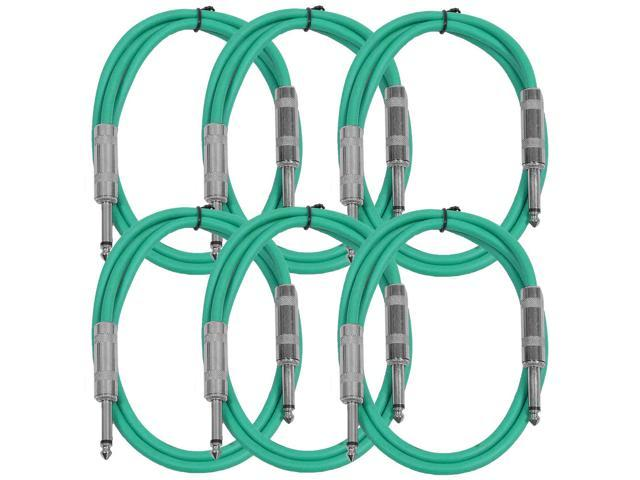 "Seismic Audio - SASTSX-3 (6 Pack) - 3 Foot TS 1/4"" Guitar, Instrument, or Patch Cables Green"