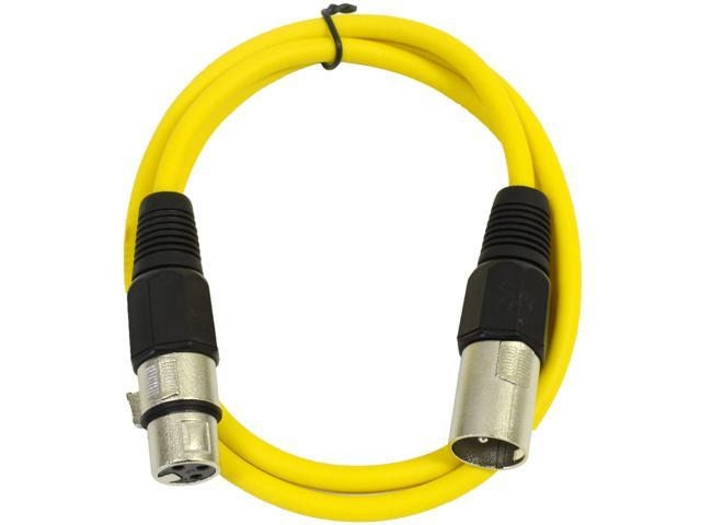 Seismic Audio - Yellow 2' XLR male to XLR female Patch Cable