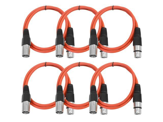 Seismic Audio - 6 Pack of Red 3' XLR male to XLR female Patch Cable
