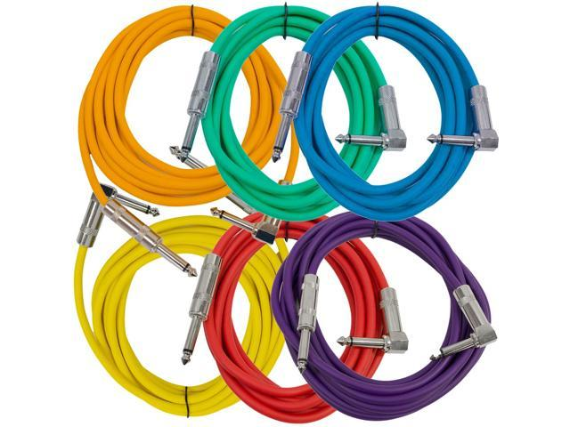 """Seismic Audio - SAGC10R-BRPGYO-- 10 Foot (6 Pack) TS 1/4"""" to 1/4"""" Right Angle TS Guitar Cables Colored"""