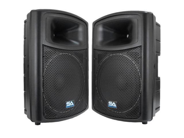 seismic audio pws 15 pair 15 powered speakers 600 watts rms pa dj. Black Bedroom Furniture Sets. Home Design Ideas