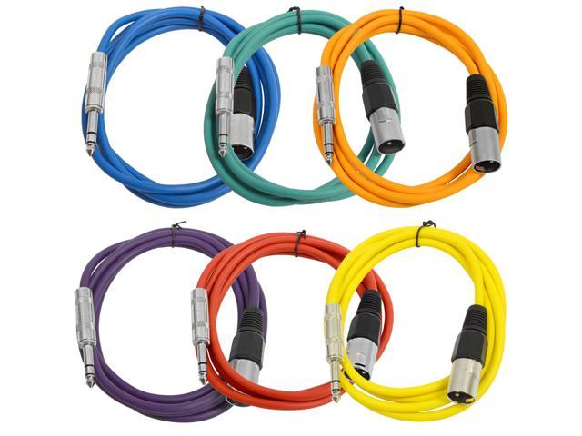 Seismic Audio - 6 Pack of Colored 6 foot XLR Male to TRS Male Patch Cables - Snake Microphone Cord