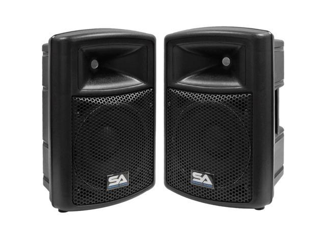 Seismic Audio - Pair of Powered 10 Inch PA DJ Molded Active Speaker Cabinets