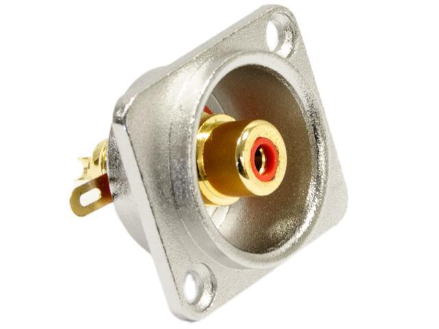 Seismic Audio - SAPT238 - RCA Female Panel Mount Connector - Nickel Plated - Fits Series D Pattern Holes Pro Audio