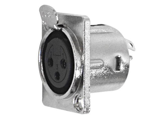 Seismic Audio - SAPT239 - XLR Female Panel Mount Connector - Nickel Plated - Fits Series D Pattern Holes Pro Audio