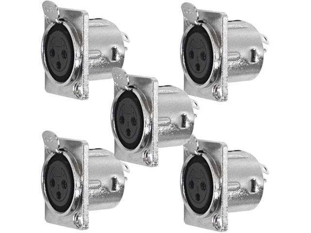 Seismic Audio - SAPT239-5Pack - 5 Pack of XLR Female Panel Mount Connectors - Nickel Plated - Fits Series D Pattern Holes ...