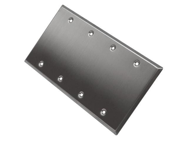 Seismic Audio - SA-PLATE14 - Stainless Steel Blank 4 Gang Wall Plate - For Cable Installation