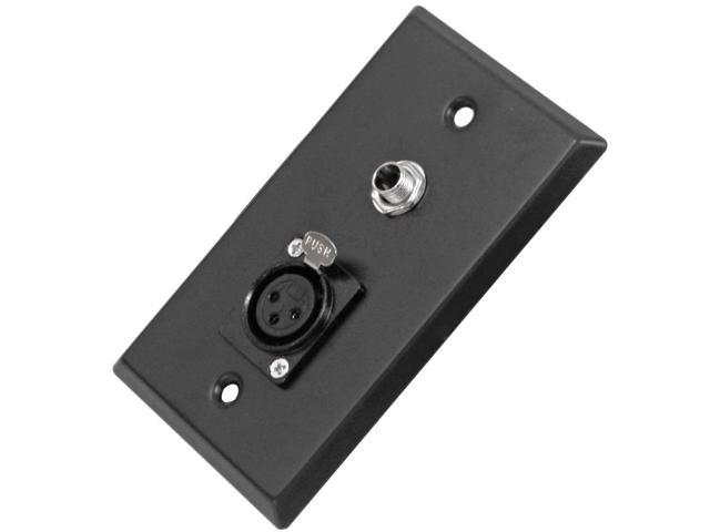 "Seismic Audio - SA-PLATE11 - Black Stainless Steel Wall Plate - One 1/4"" TS Mono Jack and One XLR Female Connector - Cable ..."