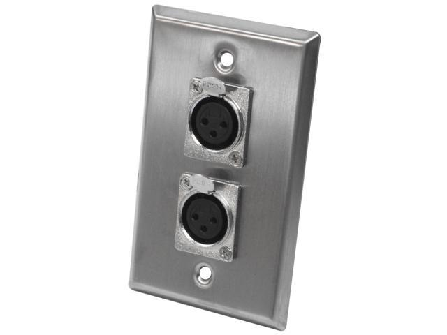 Seismic Audio - SA-PLATE2 - Dual XLR Female Stainless Steel Wall Plate - Cable Installation