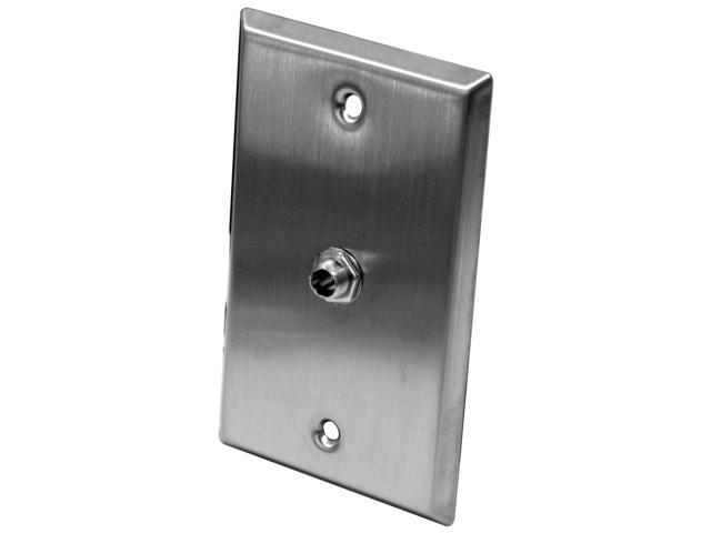 "Seismic Audio - SA-PLATE16 - Stainless Steel Wall Plate - One 1/4"" TS Mono Jack  - Cable Installation"