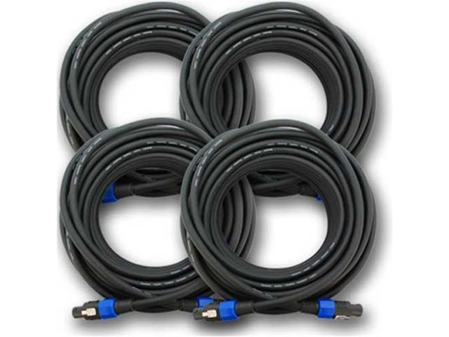 Seismic Audio - 4 Pack - Speakon Audio PA Speaker Cables- 4 Conductor - 75 foot