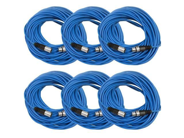Seismic Audio - 6 Pack of Blue 100' XLR male to XLR female Microphone Cables