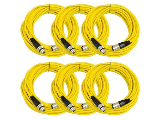 Seismic Audio - 6 Pack of Yellow 50' XLR male to XLR female Microphone Cables
