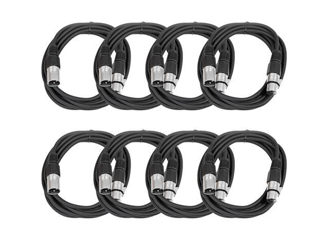 Seismic Audio - 8 Pack of Black 10' XLR male to XLR female Patch Cables