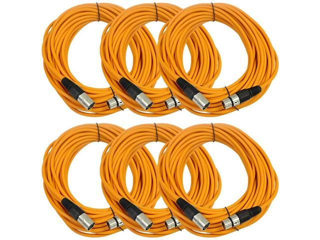 Seismic Audio - 6 Pack of Orange 50' XLR male to XLR female Microphone Cables