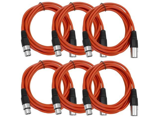 Seismic Audio - 6 Pack of Red 10' XLR male to XLR female Patch Cable
