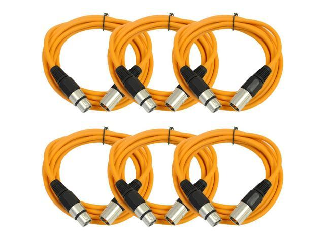 Seismic Audio - 6 Pack of Orange 10' XLR male to XLR female Patch Cable