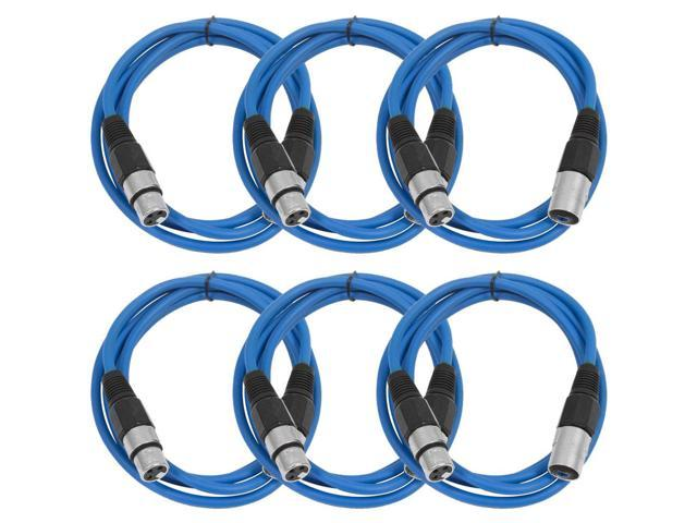 Seismic Audio - 6 Pack of Blue 6' XLR male to XLR female Patch Cable
