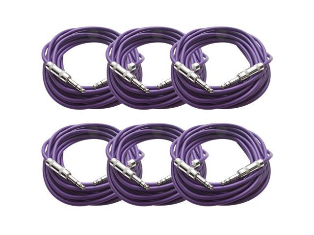 Seismic Audio - SATRX-25Purple6 - Pack of Six (6) 25 Foot Purple 1/4