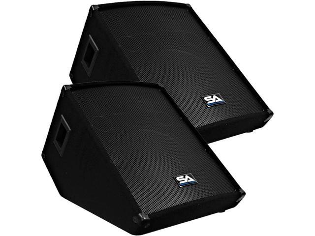"""Seismic Audio - PAIR of 15"""" Wedge Style Stage/Floor Monitor Speaker Cabinets"""
