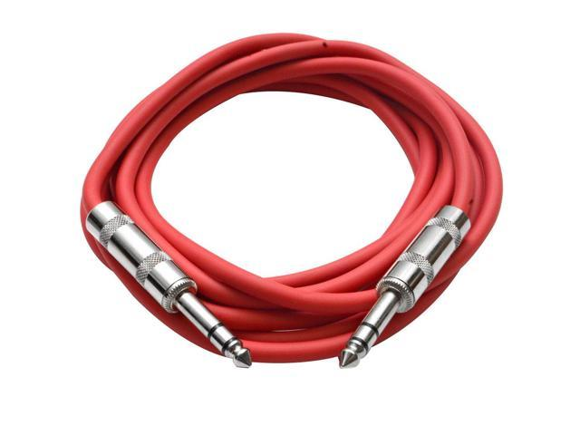 Seismic Audio - Red 10 foot TRS to TRS Patch Cable - Snake Microphone Cord
