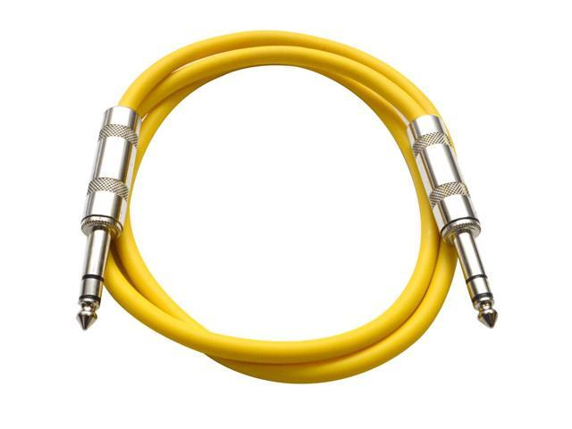 Seismic Audio - Yellow 2 foot TRS to TRS Patch Cable - Snake Microphone Cord