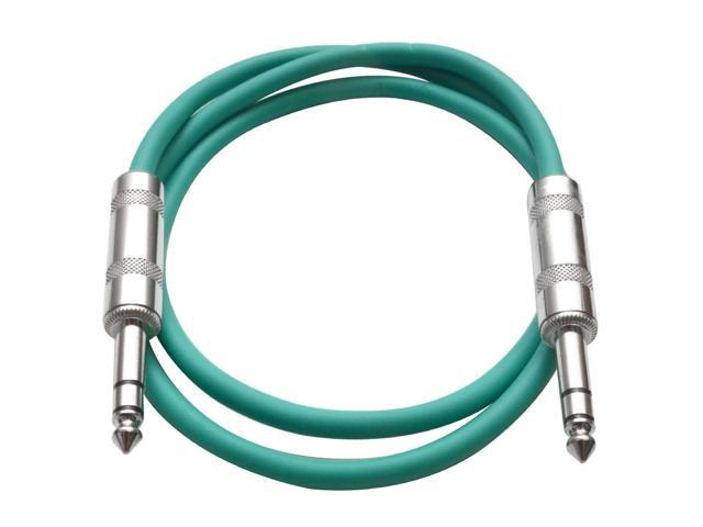 Seismic Audio - Green 2 foot TRS to TRS Patch Cable - Snake Microphone Cord