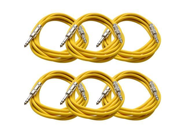 Seismic Audio - 6 Pack of Yellow 10 foot TRS to TRS Patch Cables - Snake Microphone Cord