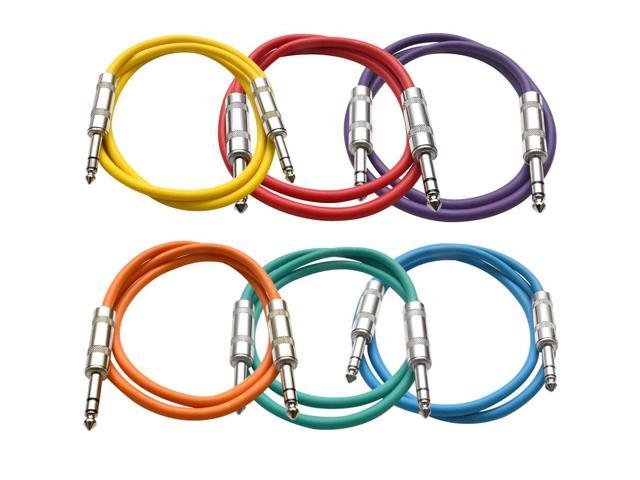 Seismic Audio - 6 Pack of Colored 3 foot TRS to TRS Patch Cables - Snake Microphone Cord