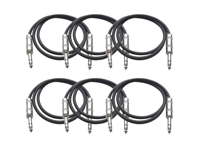 Seismic Audio - 6 Pack of Black 3 foot TRS to TRS Patch Cables - Snake Microphone Cord