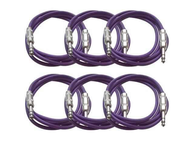Seismic Audio - 6 Pack of Purple 6 foot TRS to TRS Patch Cables - Snake Microphone Cord