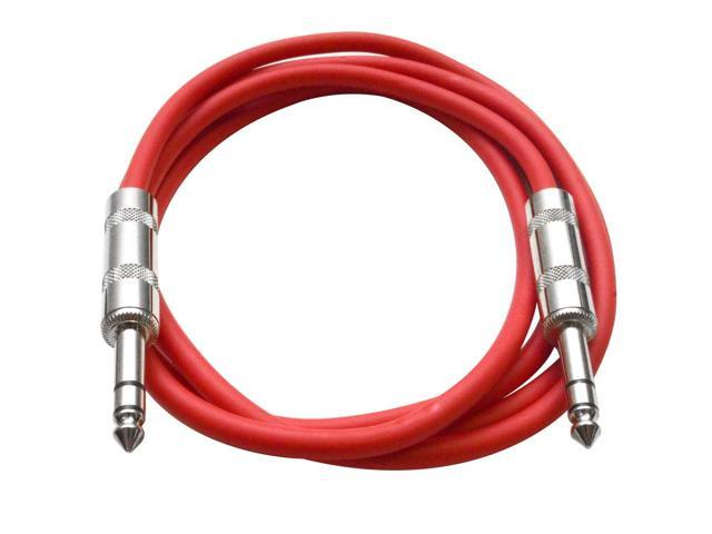 Seismic Audio - Red 6 foot TRS to TRS Patch Cable - Snake Microphone Cord