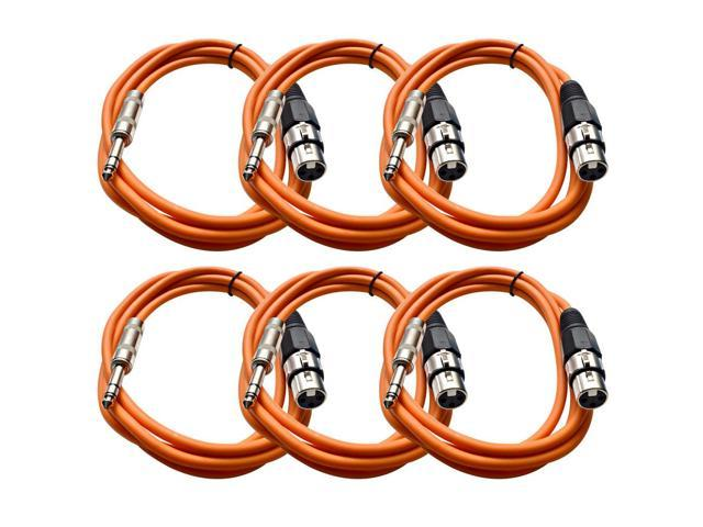 Seismic Audio - 6 Pack of Orange 6 foot XLR Female to TRS Male Patch Cables - Snake Microphone Cord