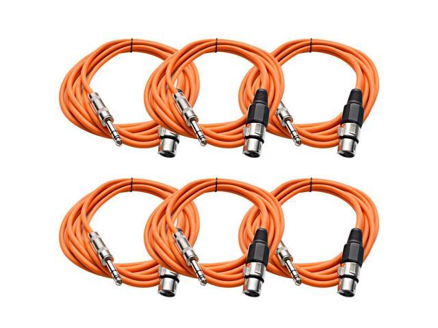 Seismic Audio - 6 Pack of Orange 10 foot XLR Female to TRS Male Patch Cables - Snake Microphone Cord