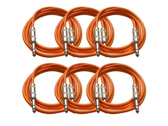 Seismic Audio - 6 Pack of Orange 6 foot TRS to TRS Patch Cables - Snake Microphone Cord