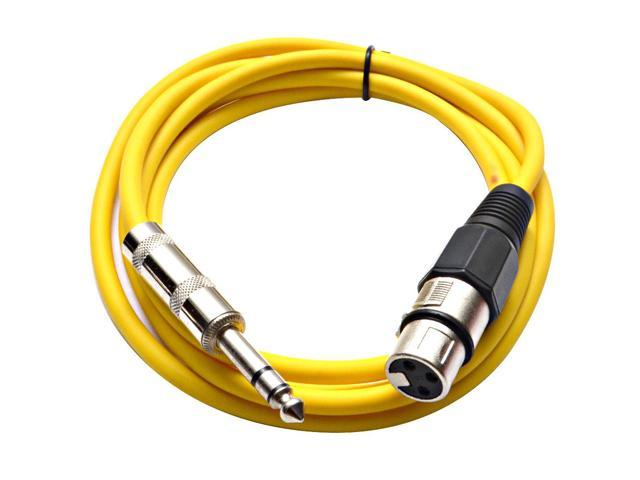 Seismic Audio - Yellow 6 foot XLR Female to TRS Male Patch Cable - Snake Microphone Cord