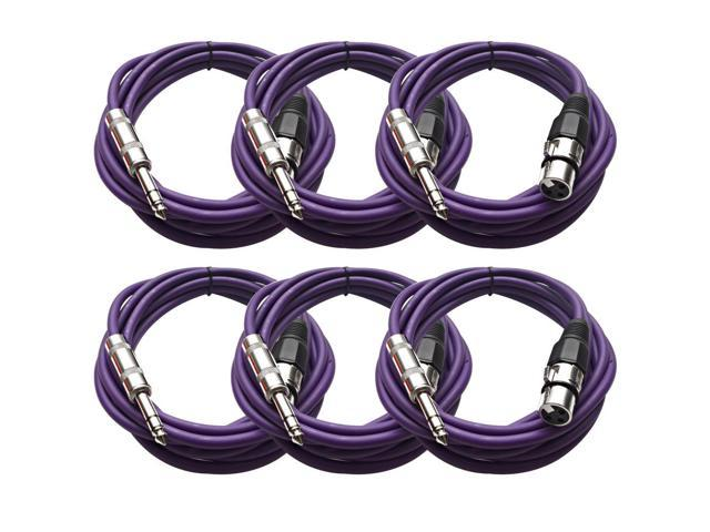 Seismic Audio - 6 Pack of Purple 10 foot XLR Female to TRS Male Patch Cables - Snake Microphone Cord
