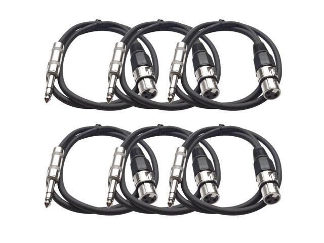 Seismic Audio - 6 Pack of Black 2 foot XLR Female to TRS Male Patch Cables - Snake Microphone Cord