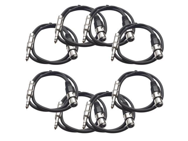 Seismic Audio - 8 Pack of Black 2 foot XLR Female to TRS Male Patch Cables - Snake Microphone Cord