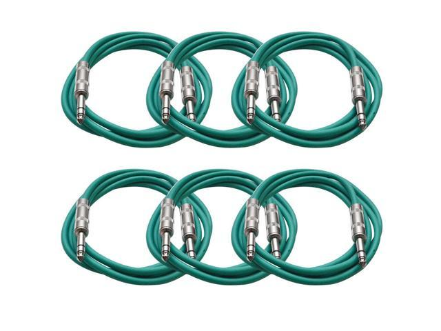Seismic Audio - 6 Pack of Green 6 foot TRS to TRS Patch Cables - Snake Microphone Cord