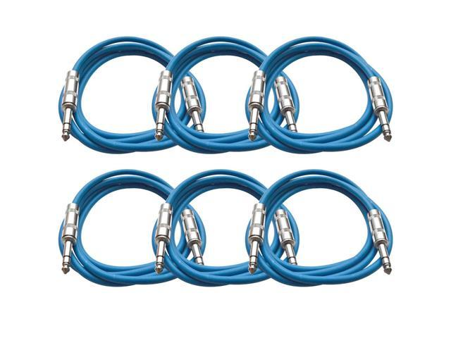 Seismic Audio - 6 Pack of Blue 6 foot TRS to TRS Patch Cables - Snake Microphone Cord