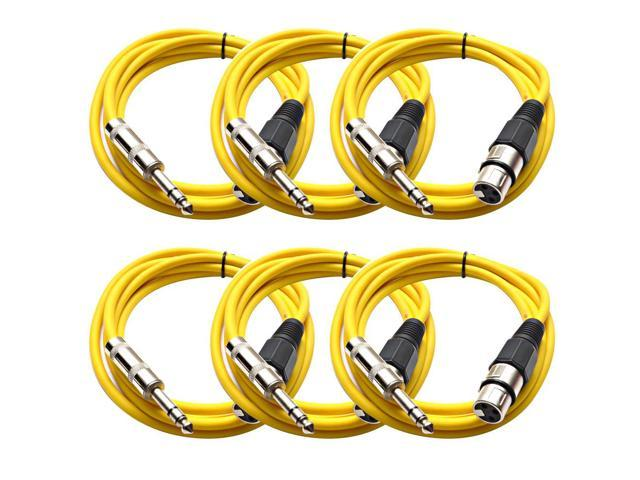 Seismic Audio - 6 Pack of Yellow 6 foot XLR Female to TRS Male Patch Cables - Snake Microphone Cord